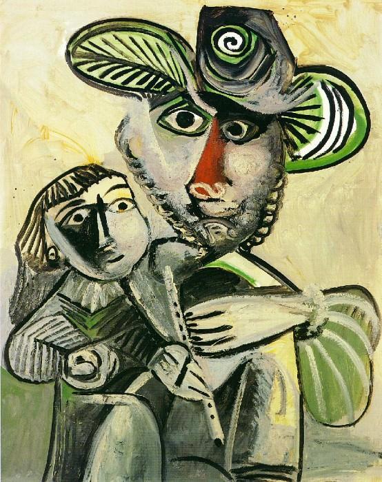 1971 Homme Е la flЦte et enfant (PaternitВ). Pablo Picasso (1881-1973) Period of creation: 1962-1973