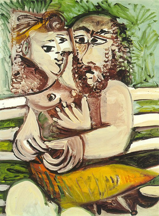 1971 Couple assis sur un banc. Pablo Picasso (1881-1973) Period of creation: 1962-1973