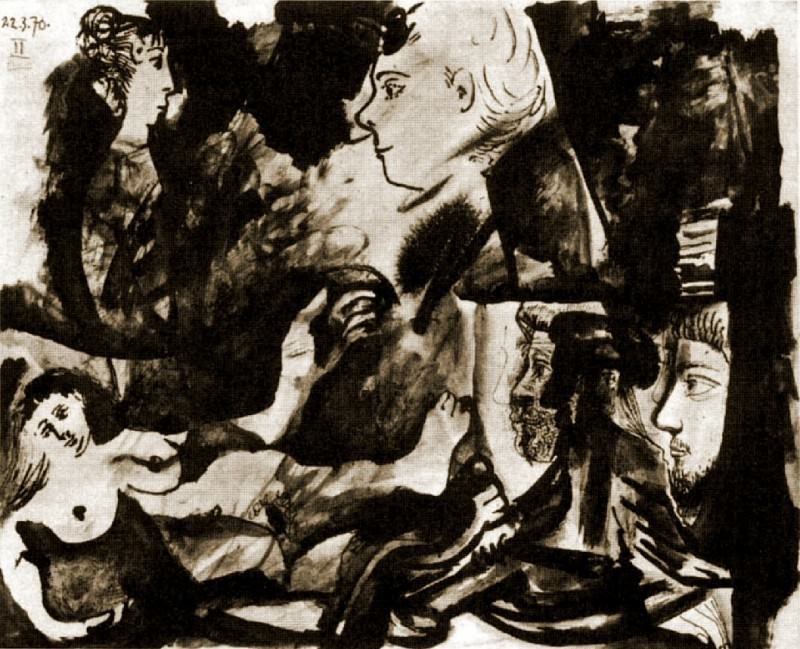 1970 Nu couchВ et tИtes de profil. Pablo Picasso (1881-1973) Period of creation: 1962-1973