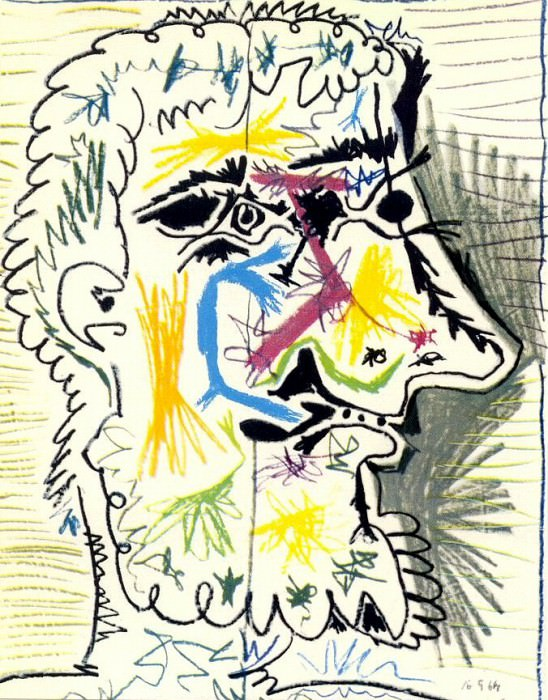 1964 TИte dhomme barbu II. Pablo Picasso (1881-1973) Period of creation: 1962-1973