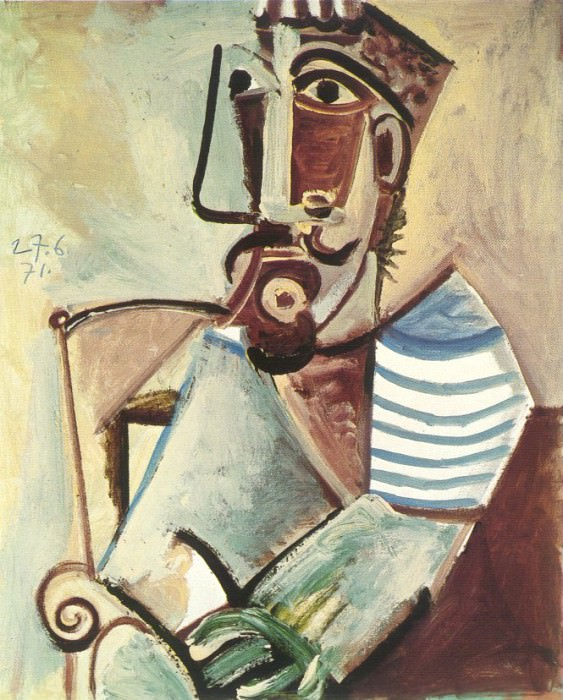 1971 Buste dhomme assis. Pablo Picasso (1881-1973) Period of creation: 1962-1973