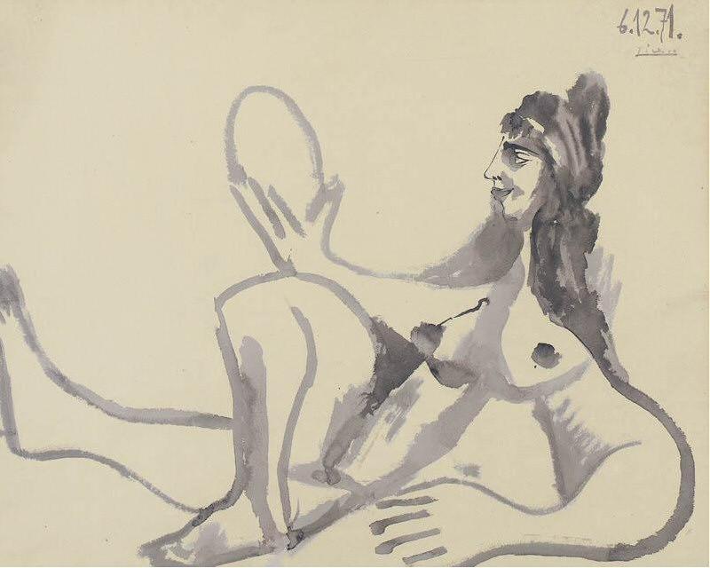 1971 Nu au miroir. Пабло Пикассо (1881-1973) Период: 1962-1973
