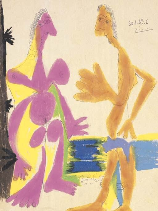 1969 Homme et femme nus debout. Pablo Picasso (1881-1973) Period of creation: 1962-1973