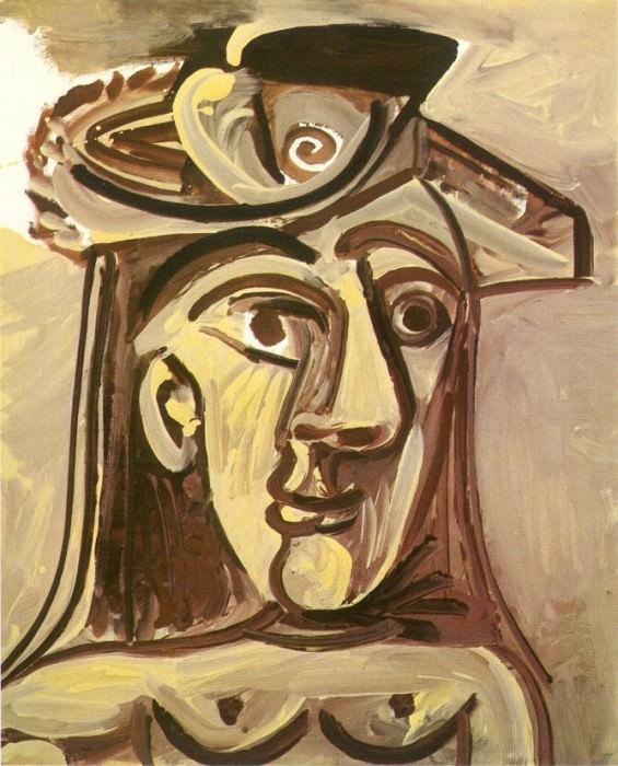 1971 Buste de femme au chapeau. Пабло Пикассо (1881-1973) Период: 1962-1973