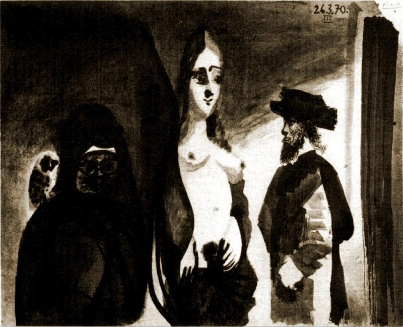 1970 Vieille femme Е la chouette, homme et nu debout. Pablo Picasso (1881-1973) Period of creation: 1962-1973