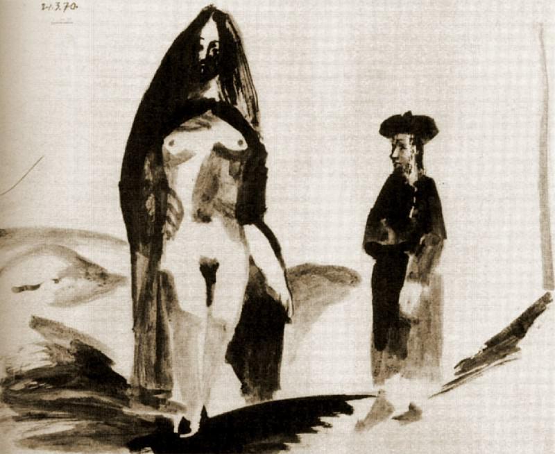 1970 Homme et femme nue. Pablo Picasso (1881-1973) Period of creation: 1962-1973