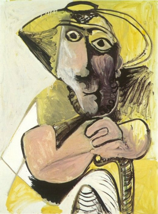 1971 Homme assis Е la canne. Pablo Picasso (1881-1973) Period of creation: 1962-1973