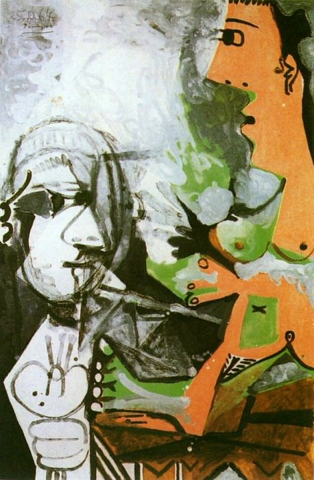 1964 Le peintre et som modКle 3. Pablo Picasso (1881-1973) Period of creation: 1962-1973