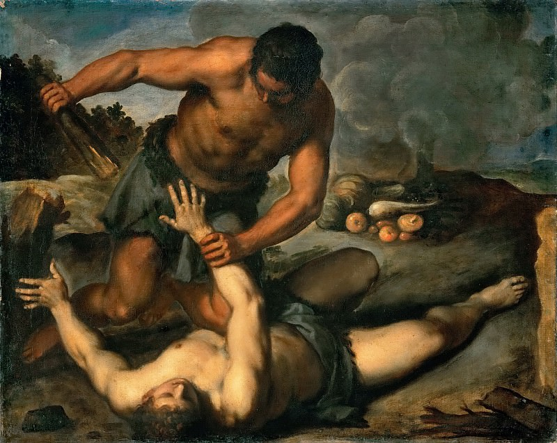 Jacopo Palma, il giovane -- Cain kills his brother. Kunsthistorisches Museum