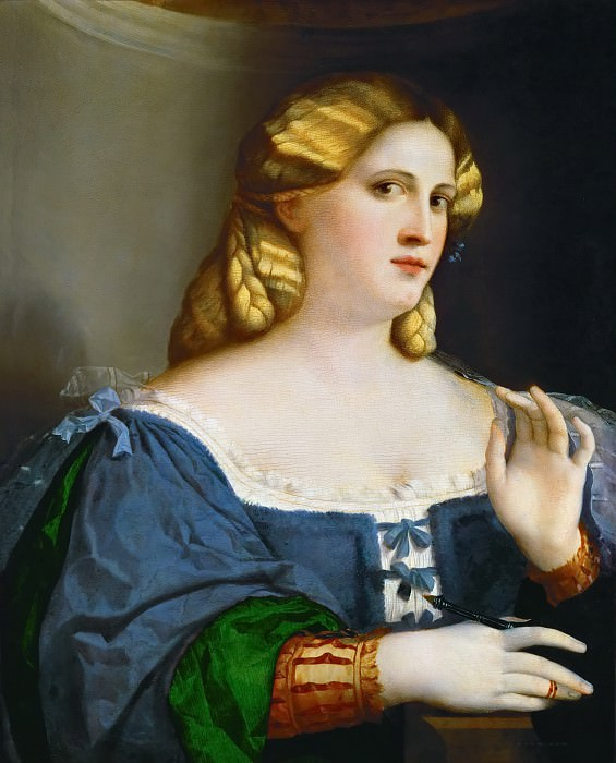 Якопо Пальма I - Портрет девушки с веером в голубом платье. Музей истории искусств