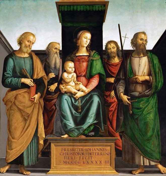 Perugino (c. 1450-1523) -- Madonna and Child with Saints Peter and Paul. Kunsthistorisches Museum
