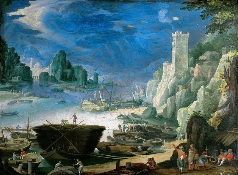 Paul Bril (1554-1626) -- Night Piece (Landscape with Harbor and Lighthouse). Kunsthistorisches Museum