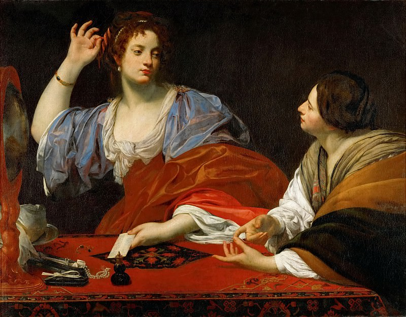Simon Vouet -- Martha reproofs her vain sister Mary Magdalen. Kunsthistorisches Museum