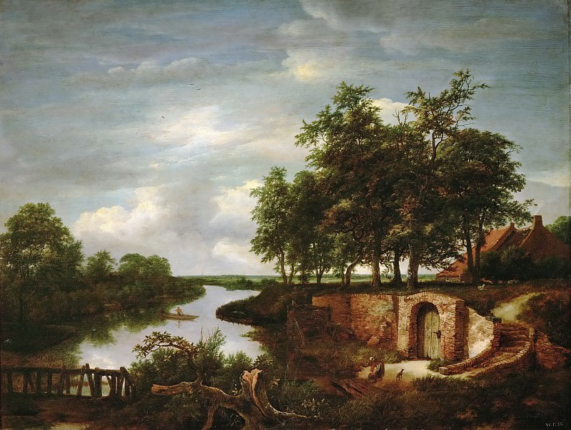 Jacob van Ruisdael (1628 or 1629-1682) -- River Landscape with Entrance to a Cellar. Kunsthistorisches Museum