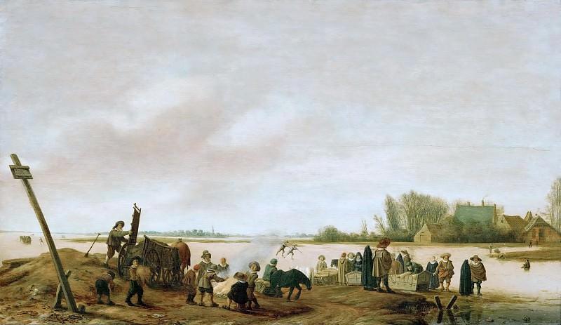 Salomon van Ruysdael (c. 1602-1670) -- Winter Landscape on the Shore. Kunsthistorisches Museum