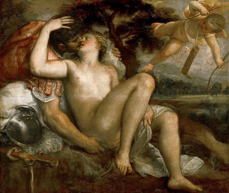 Titian -- Mars, Venus, and Amor. Kunsthistorisches Museum