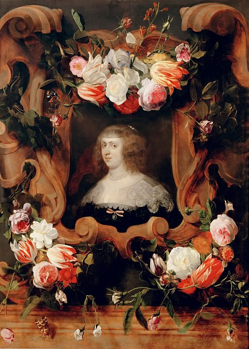 Daniel Seghers (1590-1661) -- Portrait of a Woman Surrounded by Flowers. Kunsthistorisches Museum