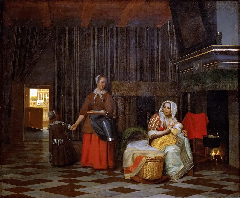 Pieter de Hooch (1629-1684) -- Interior with a Mother Feeding a Child and a Maid. Kunsthistorisches Museum