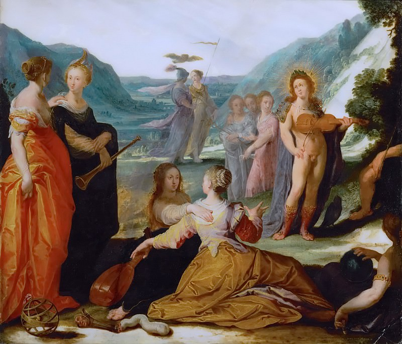 Bartholomaeus Spranger -- Apollo and the Muses. Kunsthistorisches Museum