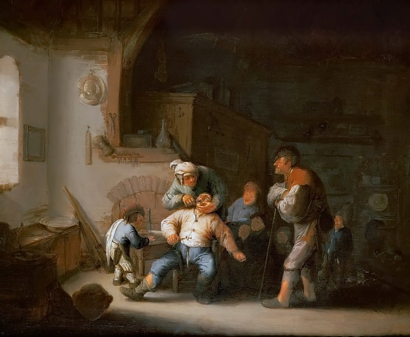 Adriaen van Ostade -- The Village Barber (Dentist Extracts a Tooth). Kunsthistorisches Museum