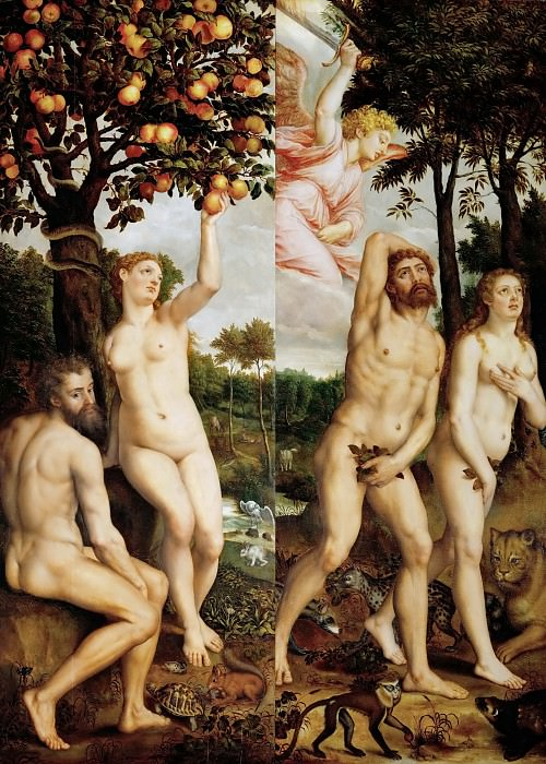 Michiel Coxcie I -- Fall of Man and Expulsion from Paradise. Kunsthistorisches Museum