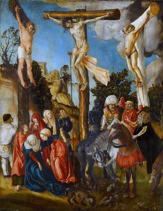 CRANACH, Lucas the Elder (b. 1472, Kronach, d. 1553, Weimar) The Crucifixion 1501 Wood, 58 x 45 cm Kunsthistorisches Museum, Vienna This is the earliest known painting of Cranach, executed for the Schottenkirche in Vienna. Cranach's style was fully formed and underwent little development after about 1515, and the highly finished, mass-produced paintings after that date suffer by comparison with the more individual works he painted in early adulthood. --. Kunsthistorisches Museum