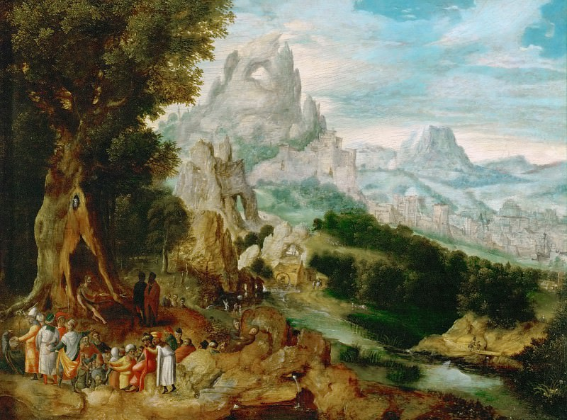 Herri met de Bles (c. 1510-after 1550) -- Landscape with John the Baptist Preaching. Kunsthistorisches Museum