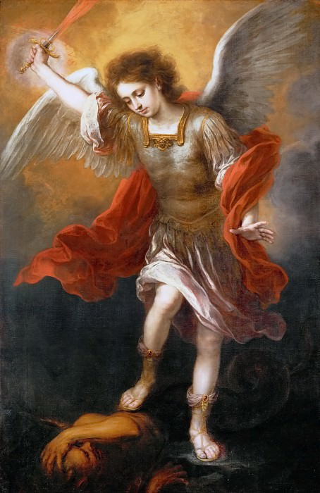 Bartolomé Estebán Murillo -- Archangel Michael Hurls the Devil into the Abyss. Kunsthistorisches Museum