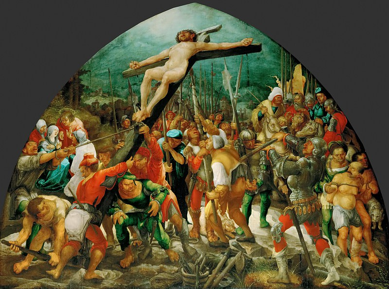 Wolfgang Huber (c. 1485-1553) -- Raising of the Cross. Kunsthistorisches Museum