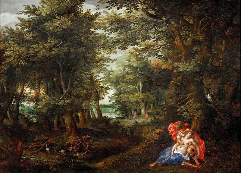Alsloot,Denys van -- Wooded landscape with Cephalus and Procris, 1608 Figures by H.de Clerck. Oakwood, 75 x 105 cm Inv. 1077. Kunsthistorisches Museum