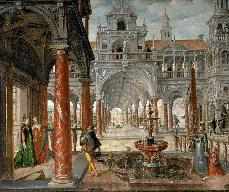 Hans Vredeman de Vries -- Palace with Distinguished Visitors. Kunsthistorisches Museum