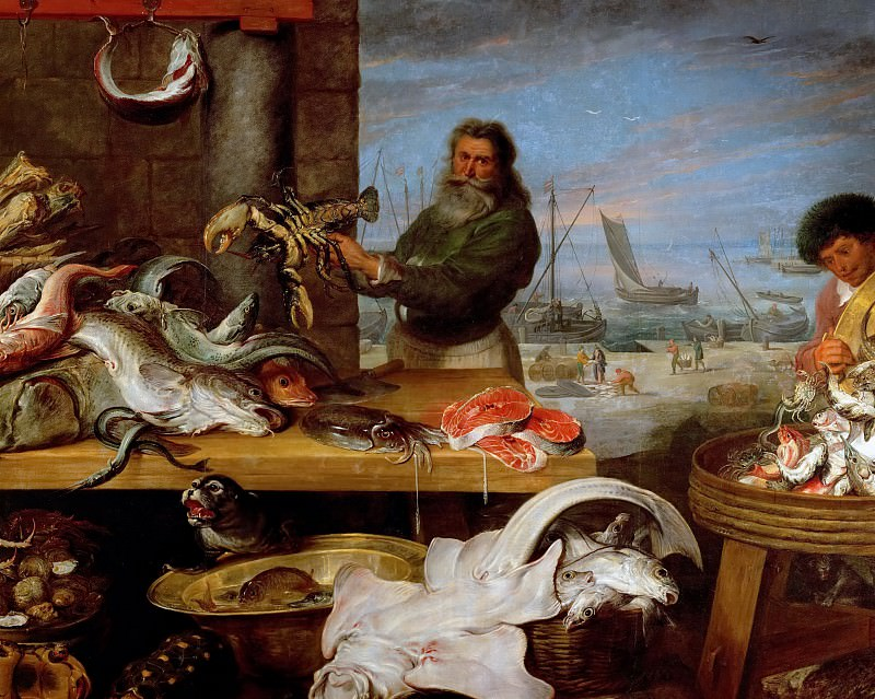 Cornelis de Vos -- Fish Market, detail. Kunsthistorisches Museum