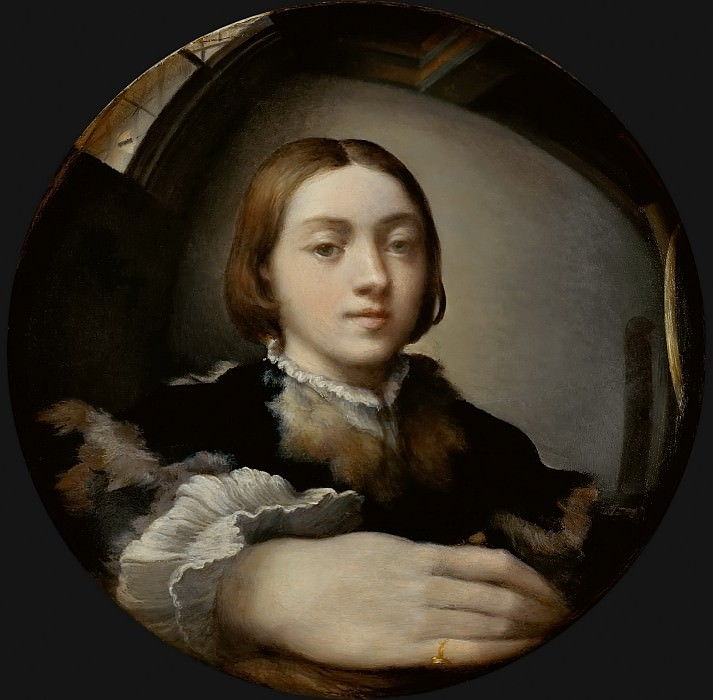 Parmigianino -- Self-portrait in a convex mirror. Kunsthistorisches Museum