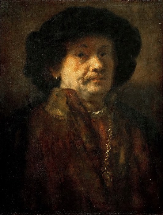 Self Portrait in Fur Coat, with Gold Chain and Earring (attr). Rembrandt Harmenszoon Van Rijn
