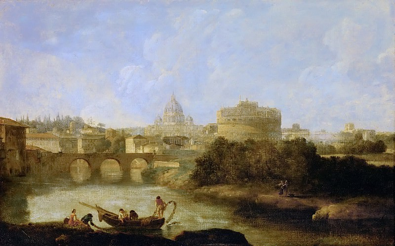 Claude-Joseph Vernet -- Castel Sant' Angelo and St. Peter's church, Rome. Kunsthistorisches Museum