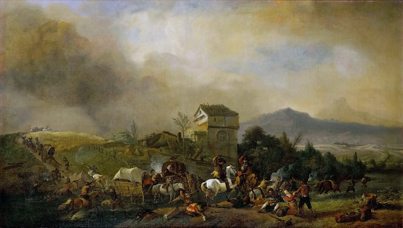 Philips Wouwerman -- Attack on a line of coaches. Kunsthistorisches Museum