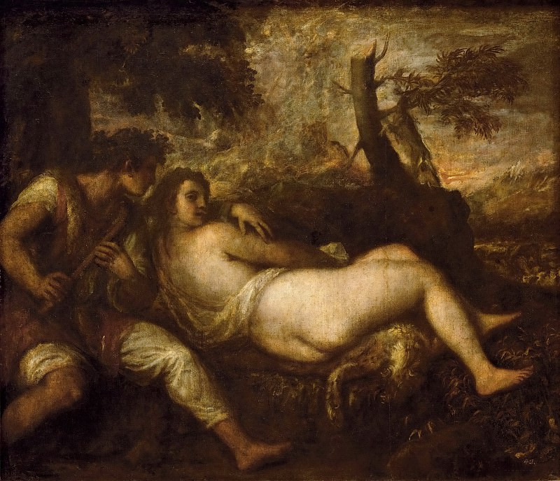 Titian -- Nymph and Shepherd. Kunsthistorisches Museum