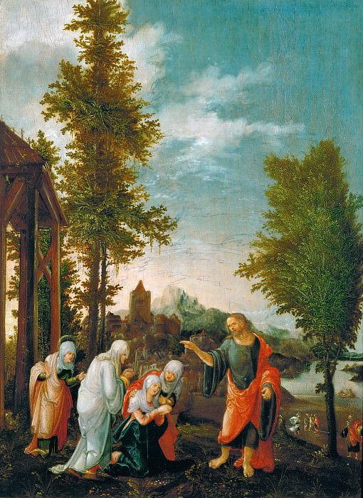 Wolfgang Huber (c. 1485-1553) -- Christ Taking Leave of Mary (Christ's Farewell to the Holy Women). Kunsthistorisches Museum