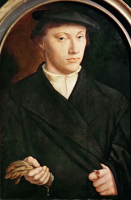 Bartholomaeus Bruyn the Elder(1493-1555) -- Portrait of a Young Man with Gloves. Kunsthistorisches Museum