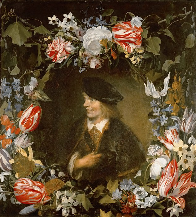 Jan Lievensz. -- Portrait of a Young Man surrounded by Flowers. Kunsthistorisches Museum