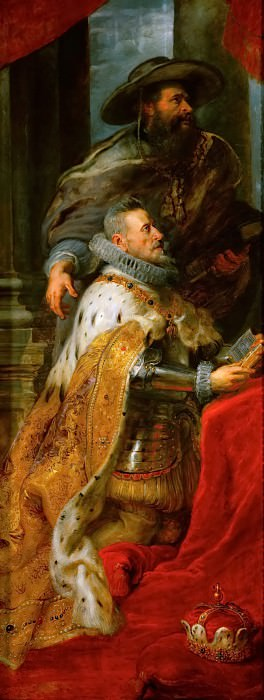 Peter Paul Rubens -- Ildefonso Atarpiece; detail of left wing with Albrecht VII, Archduke of Austria and Governor of the Netherlands. Kunsthistorisches Museum