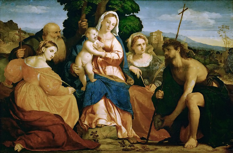 Jacopo Palma, il vecchio -- The Virgin Mary with Child and Saints Catherine and Coelestin, John the Baptist and Barbara. Kunsthistorisches Museum