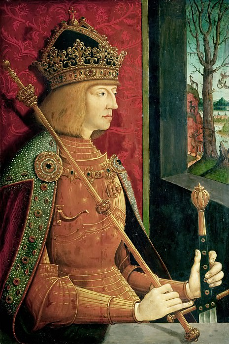 Bernhard Strigel -- Portrait of Maximilian I, half-length, in golden armor. Kunsthistorisches Museum