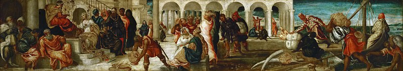 Jacopo Tintoretto -- The Queen of Sheba before Solomon. Belshazar's Feast.. Kunsthistorisches Museum
