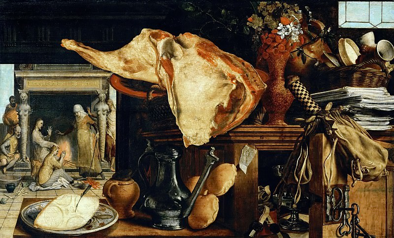 Aertsen,Pieter -- Vanitas. Still-life. In the background Jesus with Saint Mary Magdalen und Saint Martha, sisters of Lazarus. Oil on oakwood (1552) 60 x 101.5 cm Inv. 6927. Kunsthistorisches Museum