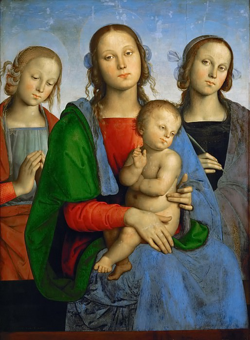 Perugino (c. 1450-1523) -- Madonna and Child with Saints Rosa (?) and Catherine (?). Kunsthistorisches Museum