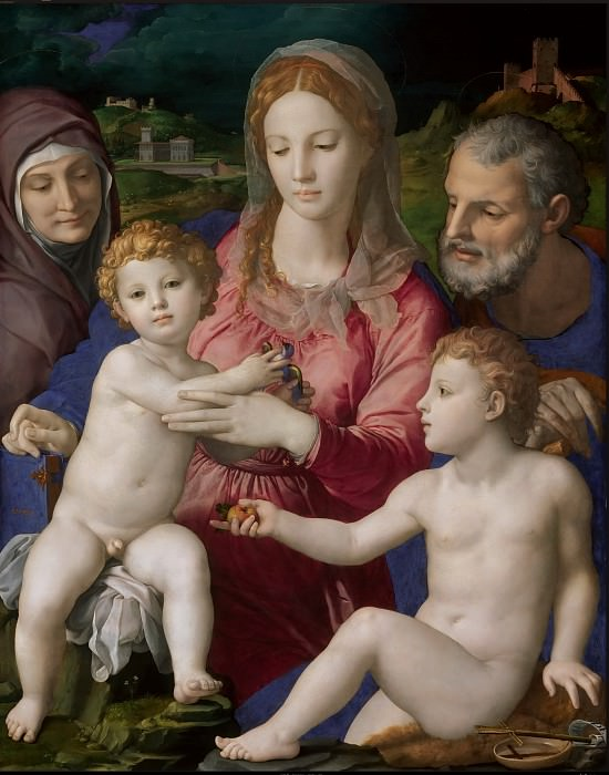 Agnolo Bronzino (1503-1572) -- Holy Family with Saints Anne and John the Baptist. Kunsthistorisches Museum
