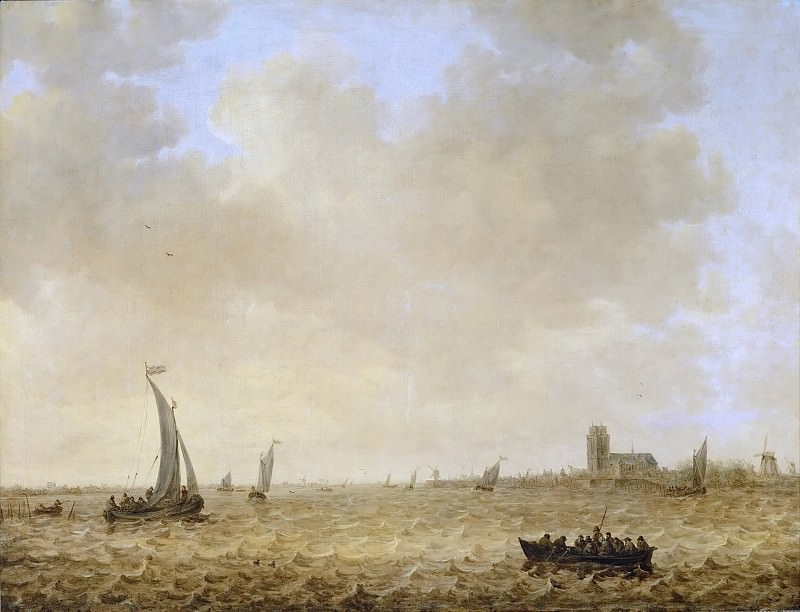 Jan van Goyen (1596-1656) -- Seascape with View of Dordrecht. Kunsthistorisches Museum