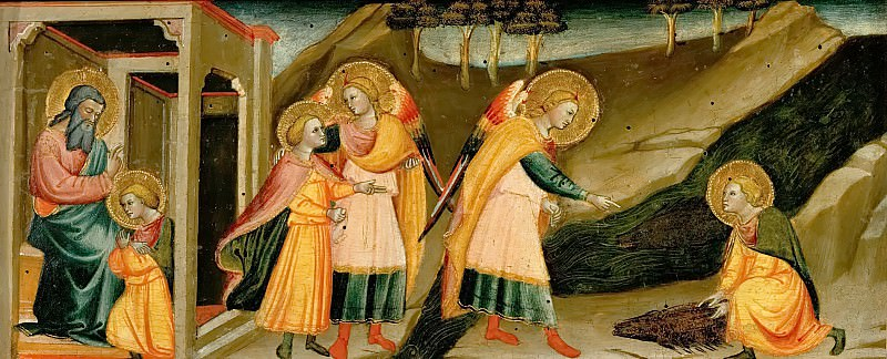 Bicci di Lorenzo (1378-1452) -- Scenes from the Story of Tobias: Tobias bids farewell to his father; Tobias and the Archangel Raphael; Tobias takes the heart, liver and gall from a big fish. Kunsthistorisches Museum