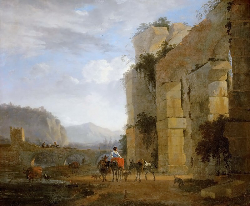 Николас Берхем - Итальянский пейзаж с руинами акведука. Музей истории искусств